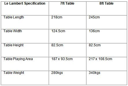 Le Lambert Pool Table Specifications
