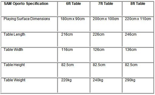 SAM Oporot Pool Table Dimensions