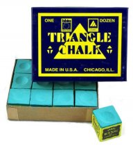 Triangle Pool Cue Chalk - Box of 12 - Red, Green or Blue
