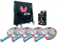 Butterfly Outdoor 4 Player Table Tennis Pack and Cover