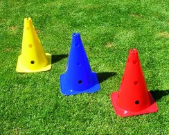 Football Training Cones - Set of 10 High 15 Inch Cones (3 Colours Choices)