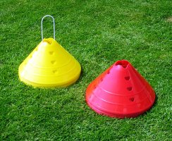 Set of 20 Large Football Marker Cones - 6 Inch High Set of 10 Red & 10 Yellow