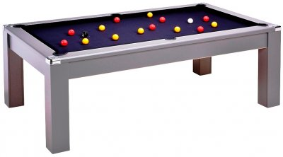 Avant Garde 2.0 Pool Dining Table - Onyx Grey - Black Cloth and Red and Yellow Balls