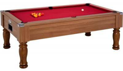 Monarch Pool Table in a Walnut Finish with Red Cloth