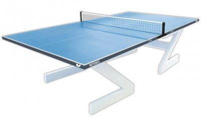 Butterfly City Concrete Outdoor Table Tennis Table - Blue