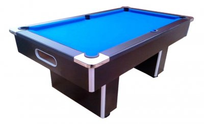 Gatley Slimline Slate Bed Pool Table in Black with Blue Cloth