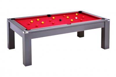 Avant Garde 2.0 Pool Dining Table - Onyx Grey with Red Cloth and Red and Yellow Balls