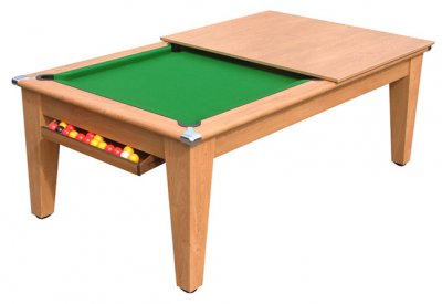 Gatley Classic Pool Dining Table in Oak with Green Cloth