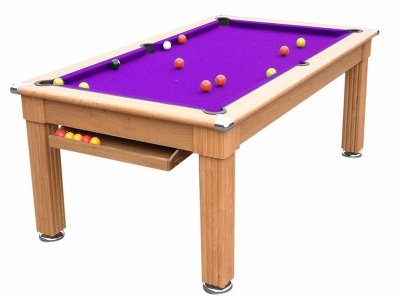 Traditional Pool Dining Table - Oak Cabinet - Purple Cloth
