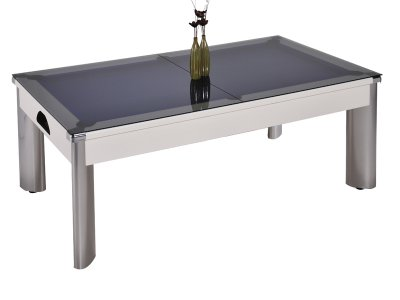 Fusion Pool Dining Table with a Glass Top in White