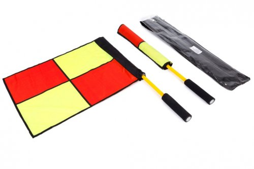 Football Linesmans Flags Set - Pair of Flags with Bag