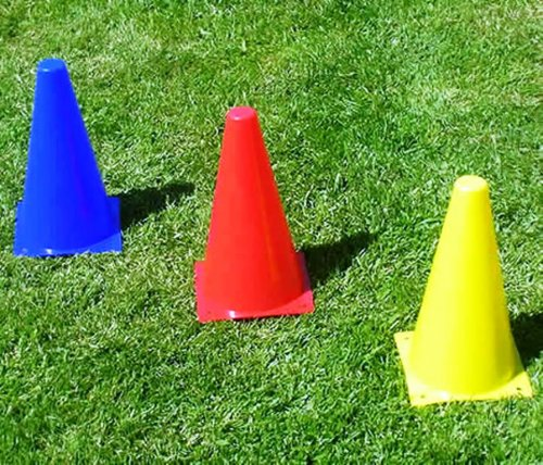 Set of 10 Football Traffic Cones - 9 Inches High (3 Colour Choices)